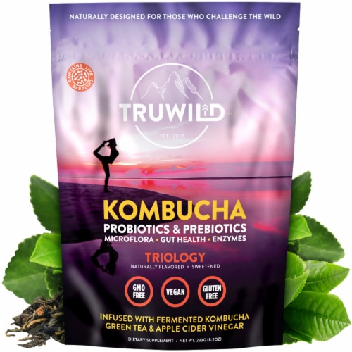 Natural Kombucha Powder Probiotic Supplement - On-The-Go Powder (Mix with Water and Drink) Perspective: front