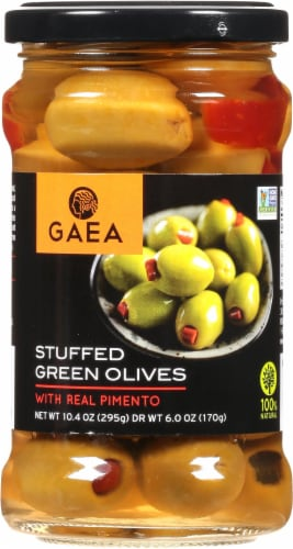 Gaea Pimento Stuffed Green Olives Perspective: front