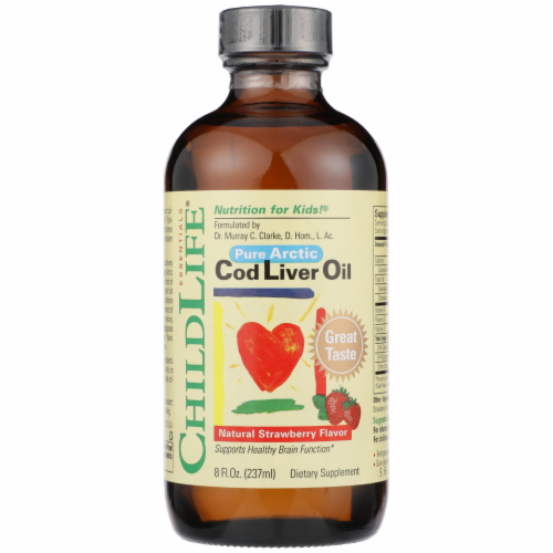 ChildLife Natural Strawberry Flavor Pure Arctic Cod Liver Oil Perspective: front