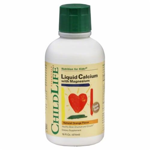 Child Life Natural Orange Flavor Liquid Calcium With Magnesium Perspective: front