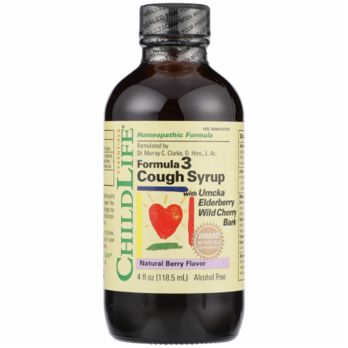 ChildLife Formula 3 Natural Berry Flavor Cough Syrup Perspective: front