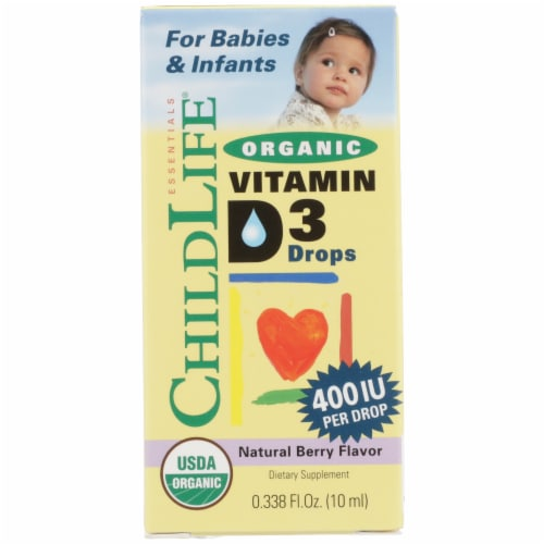 ChildLife Organic Natural Berry Flavor Vitamin D3 Drops Perspective: front