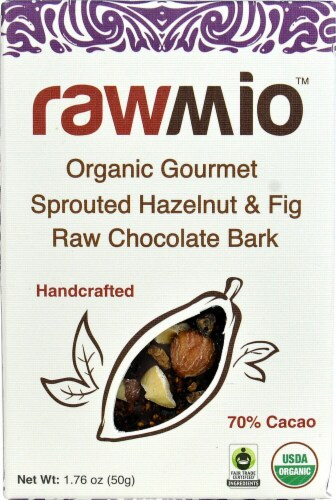 Windy City Organics Rawmio Organic Gourmet Sprouted Hazelnut & Fig Raw Chocolate Bark Perspective: front