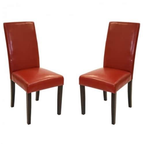 Armen Living Red Bonded Leather Side Chair Md-014 - Set of 2 Perspective: front