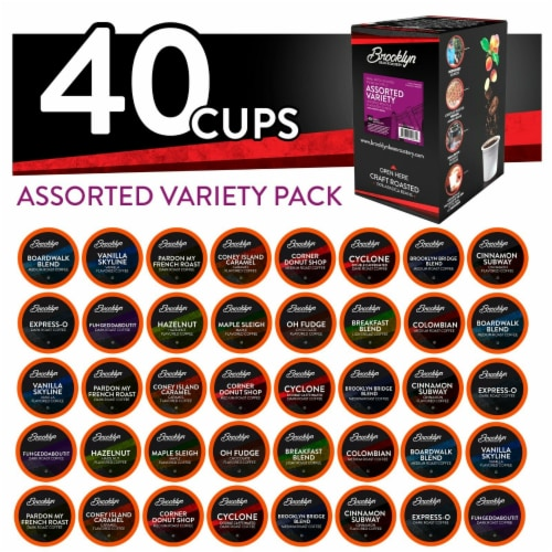 Brooklyn Beans Assorted Variety Pack K-Cups Coffee for Keurig Brewers, 40 Count Perspective: front