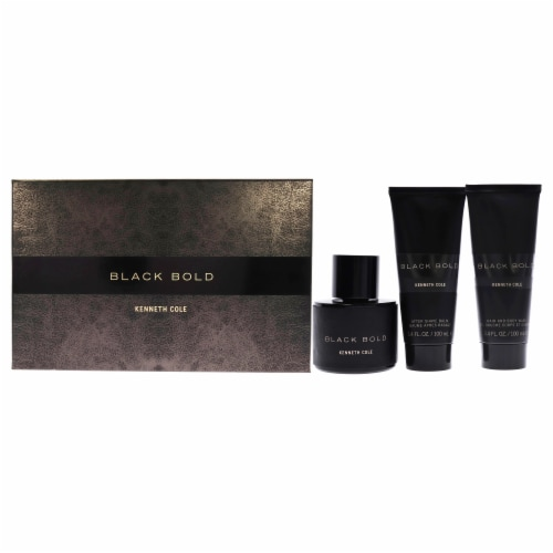 Kenneth Cole Black Bold 3.4oz EDP Spray, 3.4oz Hair and Body Wash, 3.4oz After Shave Balm 3 P Perspective: front