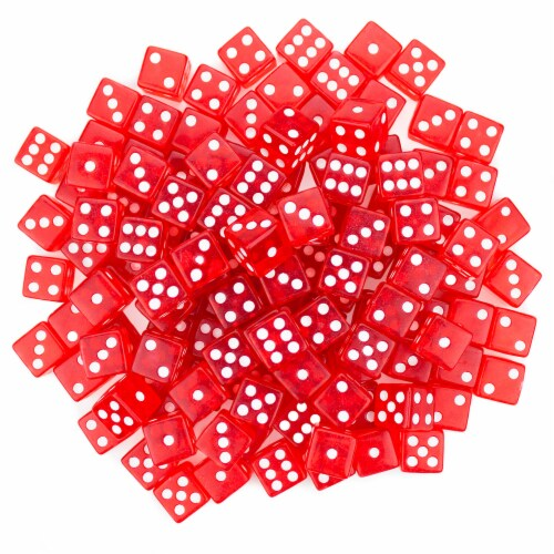 100 Red Dice - 16 mm Perspective: front