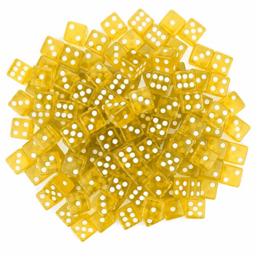 100 Yellow Dice - 16 mm Perspective: front