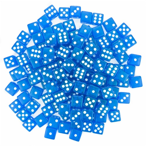 100 Blue Dice - 16 mm Perspective: front