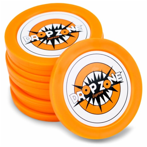 5 pack of replacement Drop Zone Express pucks Perspective: front