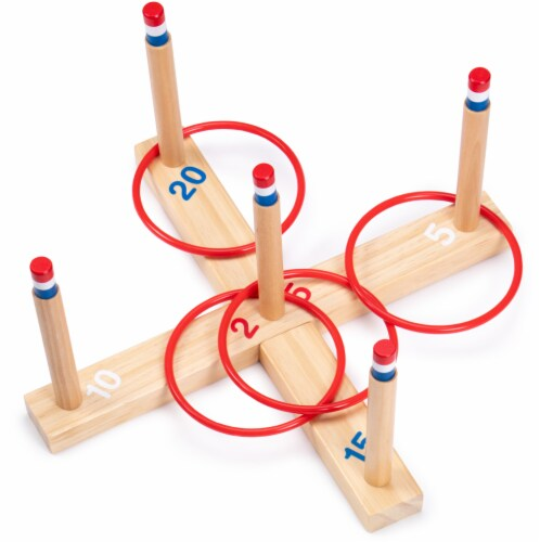 Ring Toss Game - Classic Wooden Set with 4 Plastic Rings Perspective: front