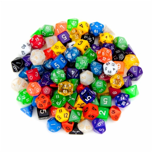 100+ Pack of Random Polyhedral Dice w/ Free Pouch Perspective: front