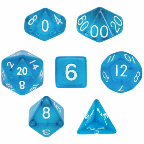 7 Die Polyhedral Dice Set  in Velvet Pouch- Translucent Blue Perspective: front