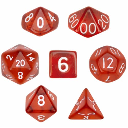 7 Die Polyhedral Dice Set  in Velvet Pouch- Translucent Red Perspective: front