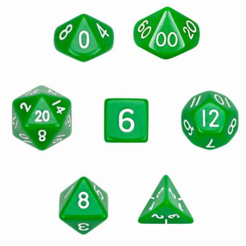 7 Die Polyhedral Dice Set  in Velvet Pouch- Opaque Green Perspective: front