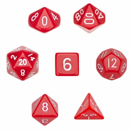 7 Die Polyhedral Dice Set  in Velvet Pouch- Opaque Red Perspective: front