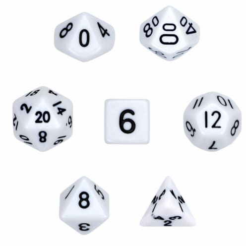 7 Die Polyhedral Dice Set  in Velvet Pouch- Opaque White Perspective: front
