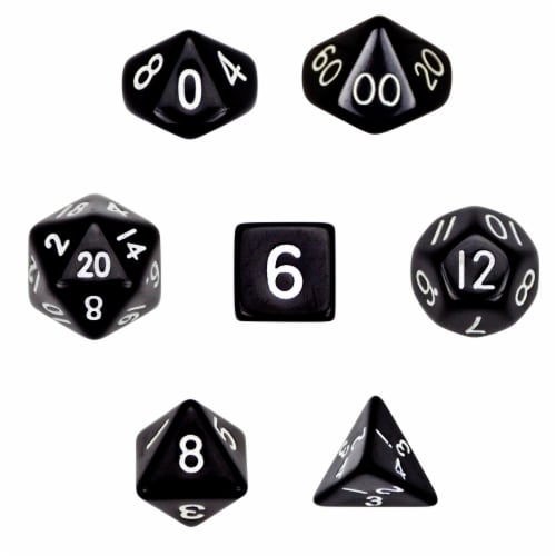 7 Die Polyhedral Dice Set  in Velvet Pouch- Opaque Black Perspective: front