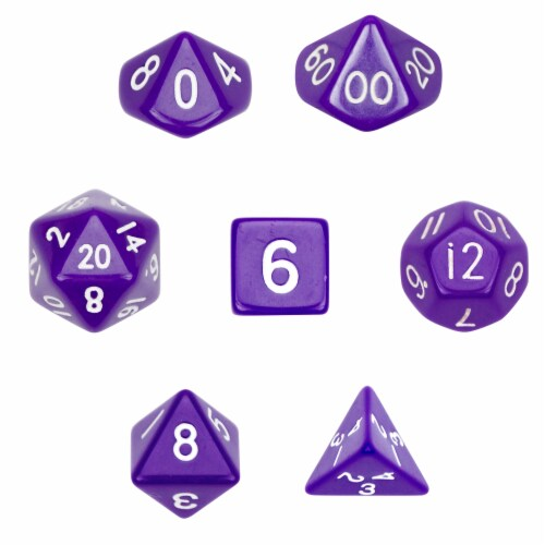 7 Die Polyhedral Dice Set  in Velvet Pouch-Opaque Purple Perspective: front