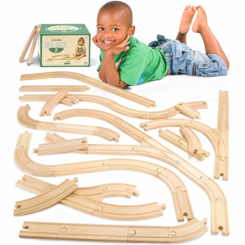 56-piece Bulk Value Wooden Train Track Pack Perspective: front