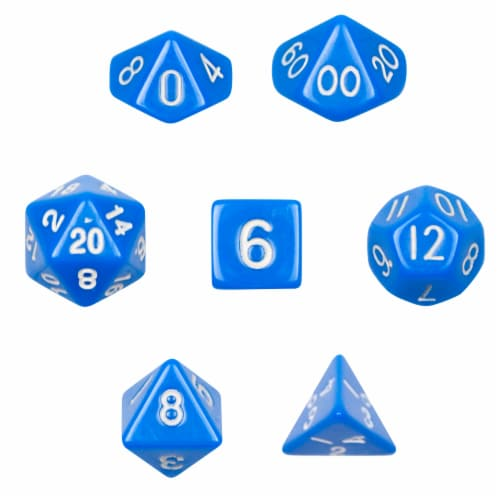 7 Die Polyhedral Dice Set  in Velvet Pouch- Opaque Blue Perspective: front