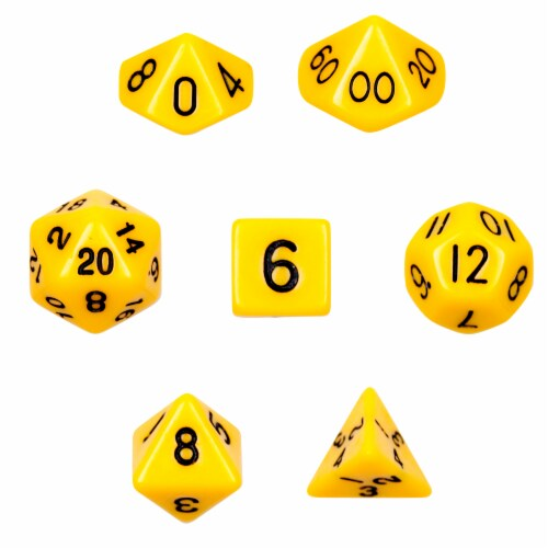 7 Die Polyhedral Dice Set in Velvet Pouch - Opaque Yellow Perspective: front
