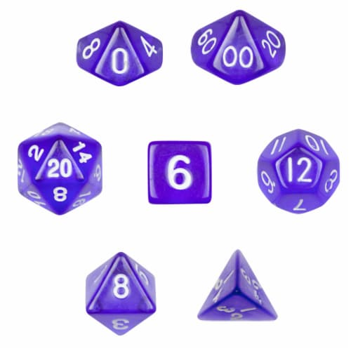7 Die Polyhedral Dice Set in Velvet Pouch-Translucent Purple Perspective: front