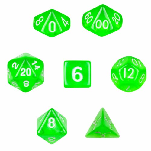 7 Die Polyhedral Dice Set in Velvet Pouch- Translucent Green Perspective: front