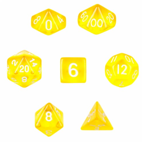 7 Die Polyhedral  Set  in Velvet Pouch-Translucent Yellow Perspective: front