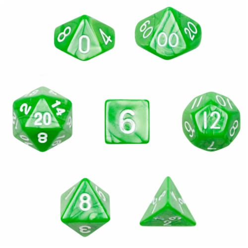 7 Die Polyhedral Dice Set in Velvet Pouch - Imperial Gem Perspective: front