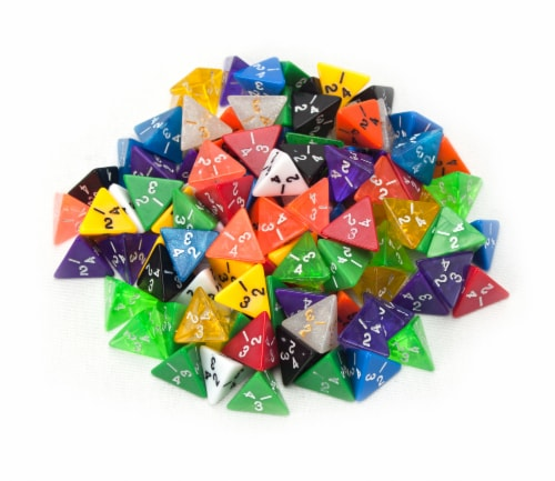 100+ Pack of Random D4 Polyhedral Dice in Multiple Colors Perspective: front