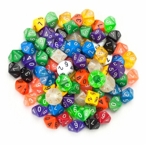 100+ Pack of Random D10 Polyhedral Dice in Multiple Colors Perspective: front