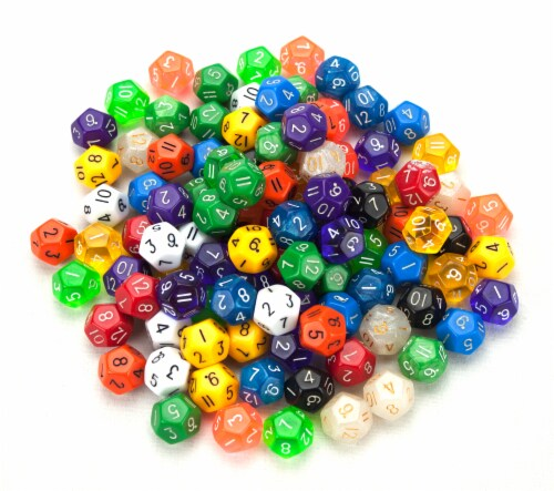 100+ Pack of Random D12 Polyhedral Dice in Multiple Color Perspective: front