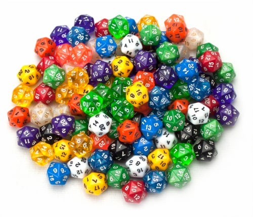 100+ Pack of Random D20 Polyhedral Dice in Multiple Color Perspective: front