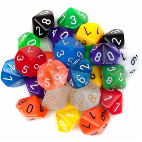 25 Pack of Random D10 Polyhedral Dice in Multiple Colors Perspective: front