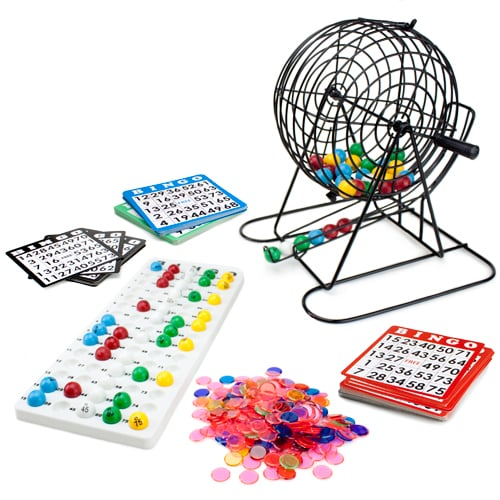 Jumbo Bingo Set - 9-Inch Metal Cage with Calling Board Perspective: front