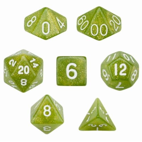 7 Die Polyhedral Dice Set in Velvet Pouch - Serpent Perspective: front
