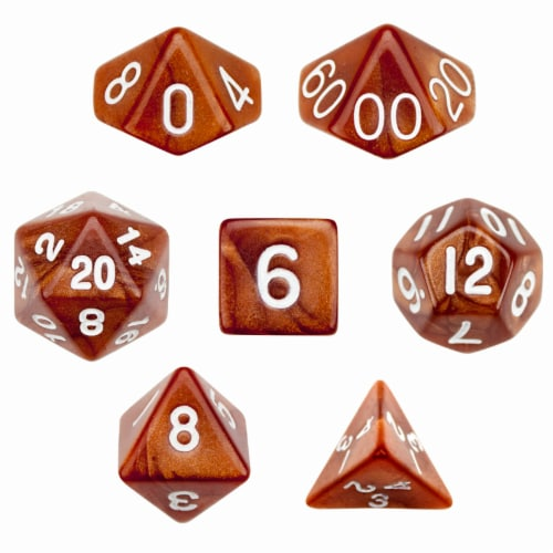 7 Die Polyhedral Dice Set in Velvet Pouch - Copper Sands Perspective: front