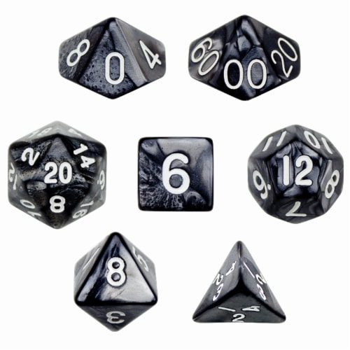 7 Die Polyhedral Dice Set in Velvet Pouch - Smoke Perspective: front