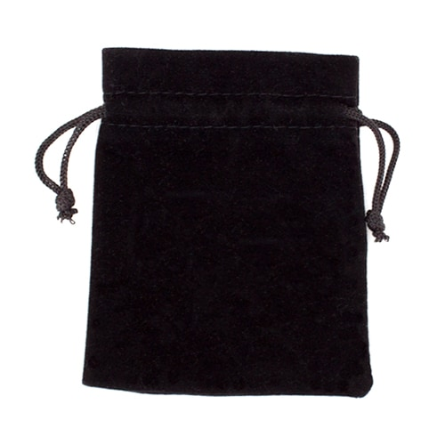 Medium 3in x 4in Plain Black Velour Pouch with Drawstring Perspective: front