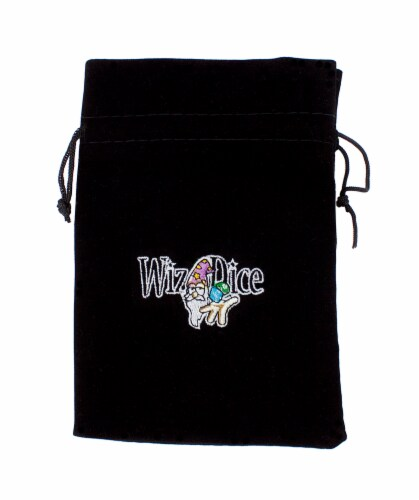Large 7in x 5in Embroidered Velour Pouch with Drawstring Perspective: front