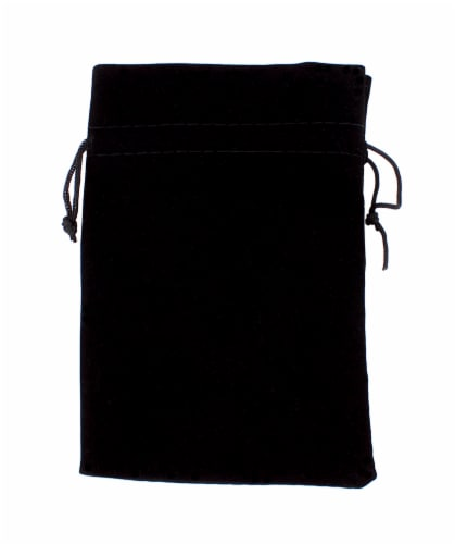 Large 7in x 5in Plain Black Velour Pouch With Drawstring Perspective: front