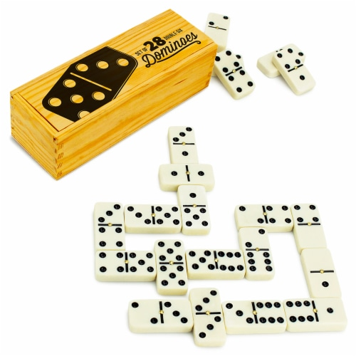 Set of 28 Double Six Dominoes with Brass Spinners Perspective: front