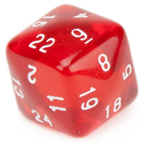 24 Sided Translucent Red with White Numbers Polyhedral Dice Perspective: front