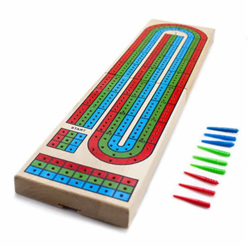 Wooden 3 Track Cribbage Board Perspective: front