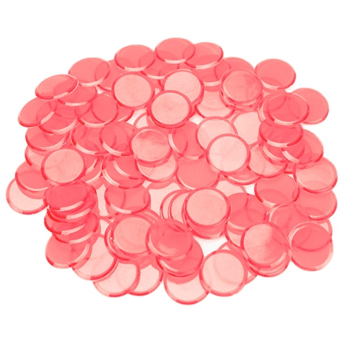 100 Pack Pink Bingo Chips Perspective: front
