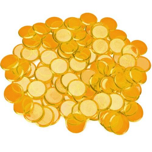 100 Pack Orange Bingo Chips Perspective: front