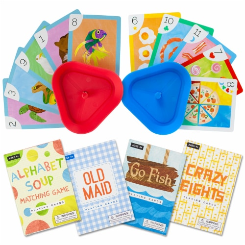 Set of 4 Classic Children's Card Games w/ 2 Cardholders Perspective: front