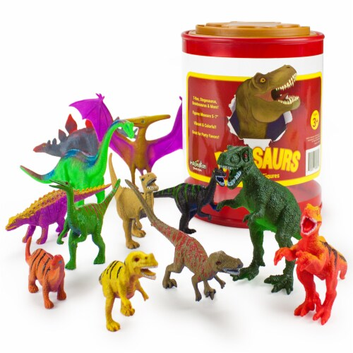 """Set of 12 Large 7"""" Dinosaur Toys with Storage Drum Perspective: front"""