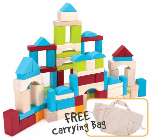 100 Piece Wooden Block Set with Carrying Bag Perspective: front